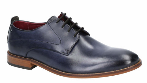 Base London Script Washed Lace Up Shoe Navy