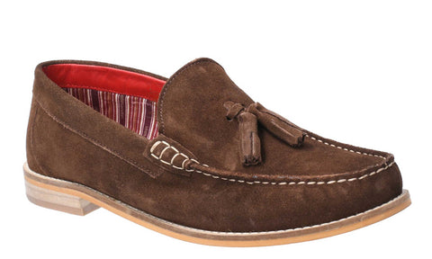 Base London Tempus Suede Mens Smart Slip On Loafer With Tassel  Trim