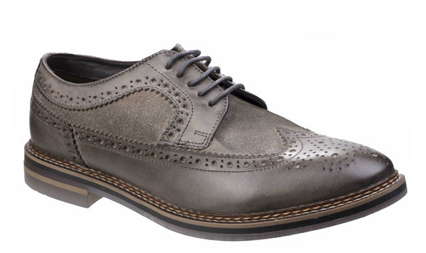Base London Turner Mens Leather And Suede Brogue Detail Shoe Grey Waxy/Suede