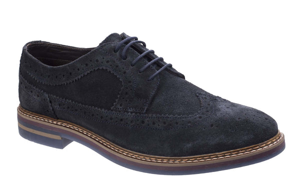 Base London Turner Mens Suede Leather Brogue Detail Shoe Navy S