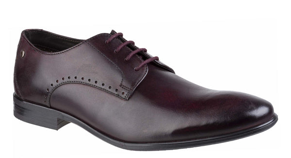 Base London Westbury Washed Plain Toe Derby Shoe BORDO
