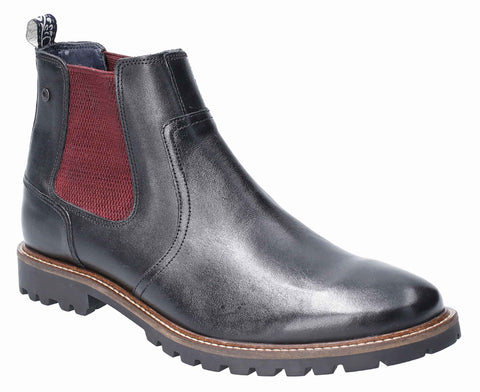 Base London Wilkes Waxy Pull On Chelsea Boot Black
