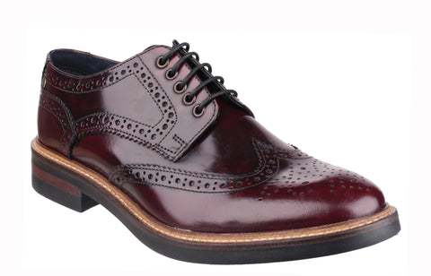 Base London Woburn Mens Brogue Detail Hi Shine Lace Up Shoe Bordo Hi-Shine