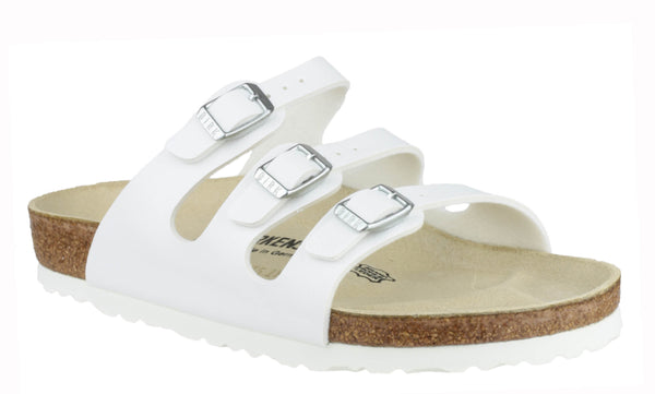 Birkenstock Florida 054731 Womens Triple Strap Open Toe Mule Sandal White