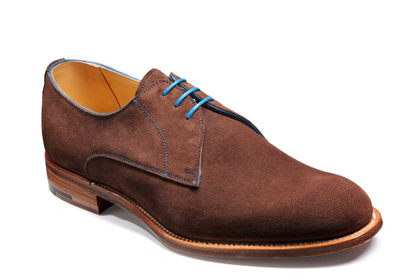 Barker Downton 4054 Mens Derby Style Suede Lace Up Formal Shoe Brown Suede
