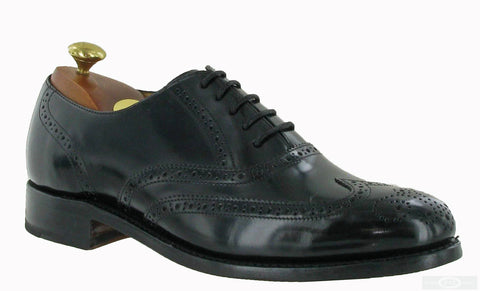 Barker Glasgow Men's Wide Fit Oxford Brogue Lace Up Shoe Black