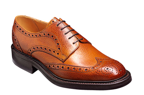 Barker Grassington 3421 Mens Derby Style Brogue Country Lace Up Shoe Cedar Grain 46F