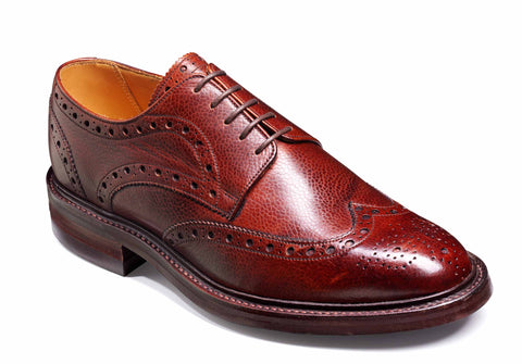 Barker Grassington 3421 Mens Derby Style Brogue Country Lace Up Shoe Cherry Grain 76F