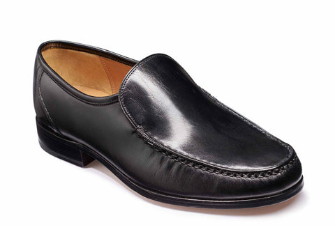 Barker Hayden 4226 Mens Wide Fit Slip On Moccasin Style Formal Shoe Black Kid 17G