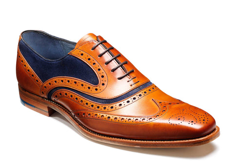 Barker McClean 3829 Mens Wingtip Brogue Formal Shoe Cedar/Blue S 26F