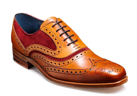 Barker McClean 3829 Mens Wingtip Brogue Formal Shoe Cedar/Burg S 76F