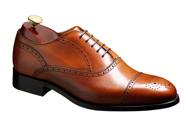 Barker Newcastle 3681 Mens Oxford Styled Half Brogue Lace Up Shoe Conker 27G