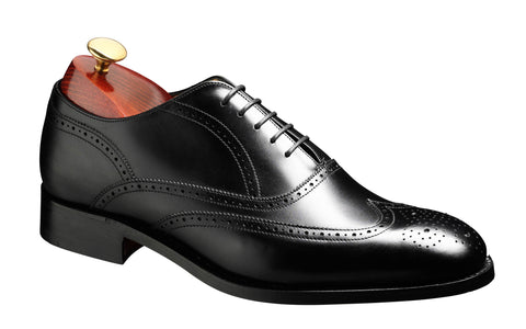 Barker Newport 3682 Mens Oxford Style Full Brogue Lace Up Shoe Black 17G