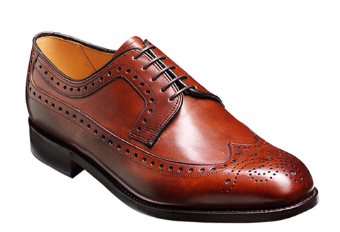 Barker Portrush 3770 Mens Extra Wide Fit Wingtip Derby Formal Shoe Walnut 48H