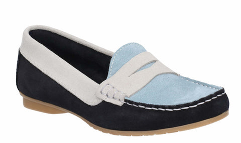 Cefalu Flora Suede Womens Tri-Colour Slip On Casual Moccasin Shoe