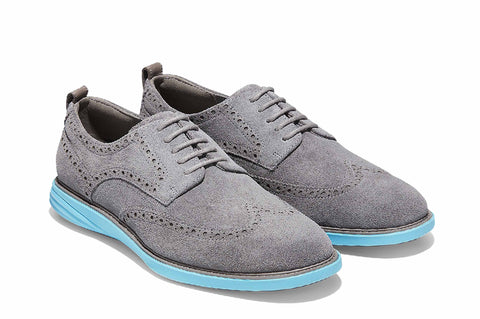 Cole Haan GrandEvolution Shortwing Oxford Shoe Ironstone Suede/Bluefish