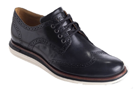 Cole Haan OriginalGrand Wing Oxford Luxury Lace Up Shoe Black Leather/Ivory