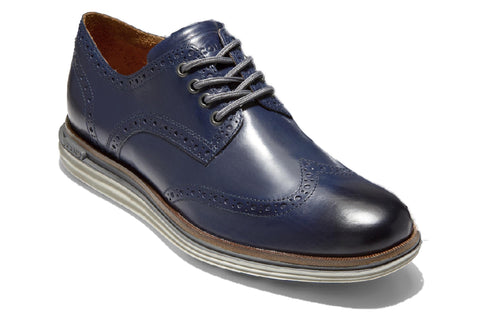 Cole Haan OriginalGrand Wing Oxford Luxury Lace Up Shoe Marine Blue Leather