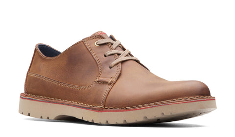 Clarks Vargo Plain Lace Up Shoe Dark Tan