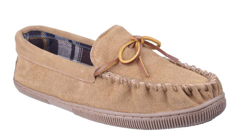 Cotswold Alberta Mens Slip On Suede Leather Moccasin Slipper Beige