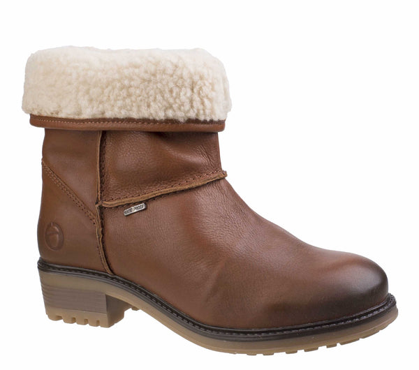 Cotswold Bampton Womens Waterproof Warm Lined Pull On Ankle Boot Tan