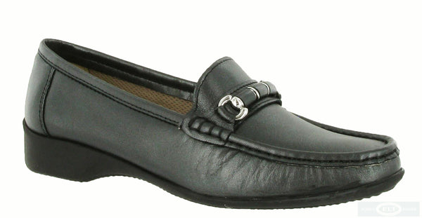 Cotswold Barrington Womens Slip On Moccasin Shoe Pewter