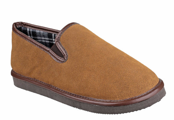 Cotswold Barton Mens Suede Leather Full Slipper Tan