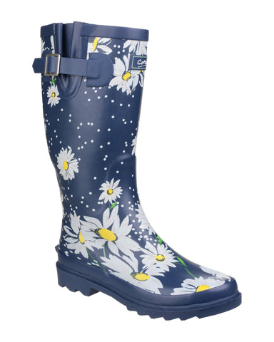 Cotswold Burleigh Womens Patterned Rubber Wellington Boot Daisy