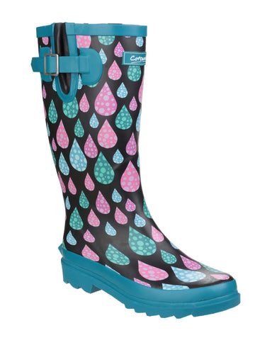 Cotswold Burleigh Womens Patterned Rubber Wellington Boot Raindrop