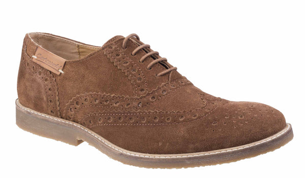 Cotswold Chatsworth Suede Wingtip Shoes Camel
