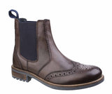 Cotswold Cirencester Mens Brogue Detail Pull On Chelsea Boot Brown