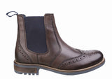 Cotswold Cirencester Mens Brogue Detail Pull On Chelsea Boot