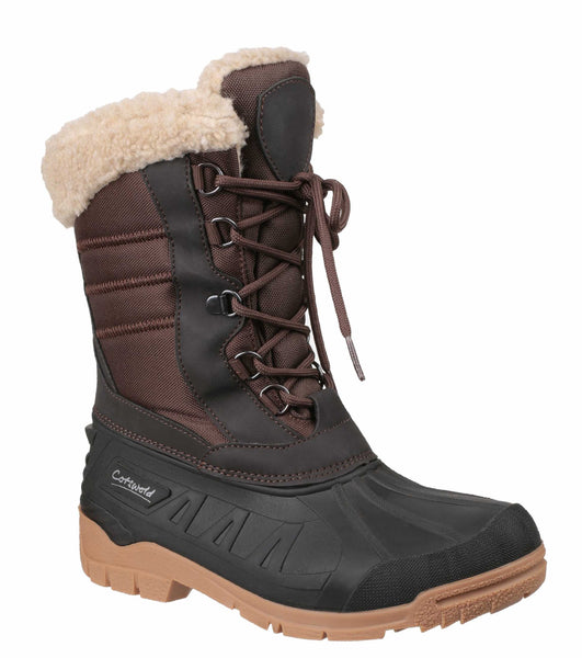 Cotswold Coset Womens Warm Lined Waterproof Weather Boot Brown