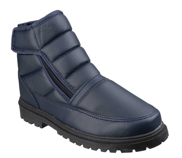 Cotswold Grit Zip Mens Zip And Touch Fastening Winter Ankle Boot Navy