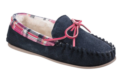 Cotswold Kilkenny Womens Warm Lined Moccasin Slipper Navy