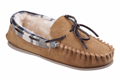 Cotswold Kilkenny Womens Warm Lined Moccasin Slipper Tan