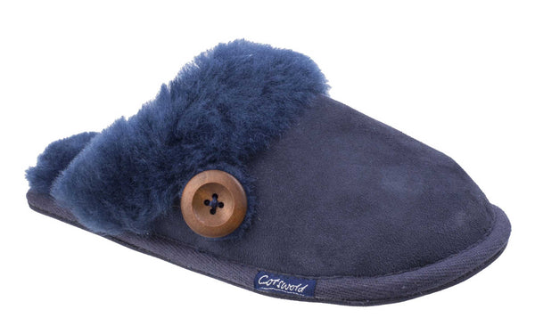 Cotswold Lechlade Womens Mule Slipper Navy