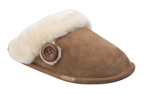 Cotswold Lechlade Womens Mule Slipper Tan