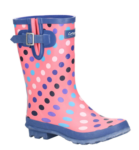 Cotswold Paxford Elasticated Mid Calf Wellington Boot Pink/Multi Spot