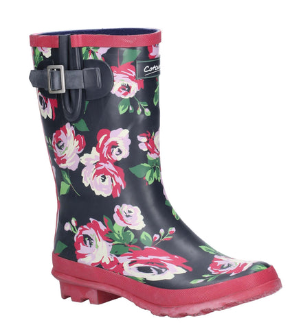Cotswold Paxford Elasticated Mid Calf Wellington Boot Black/Flower