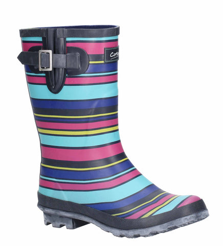 Cotswold Paxford Elasticated Mid Calf Wellington Boot Stripe Multicoloured