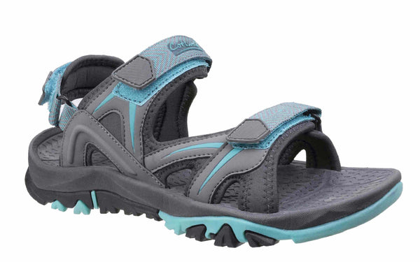 Cotswold Swinbrook Womens Touch Fastening Casual Sandal Grey/Aqua