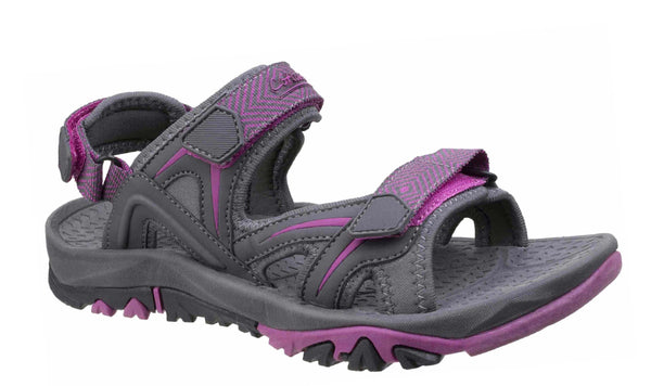 Cotswold Swinbrook Womens Touch Fastening Casual Sandal Grey/Fuchsia