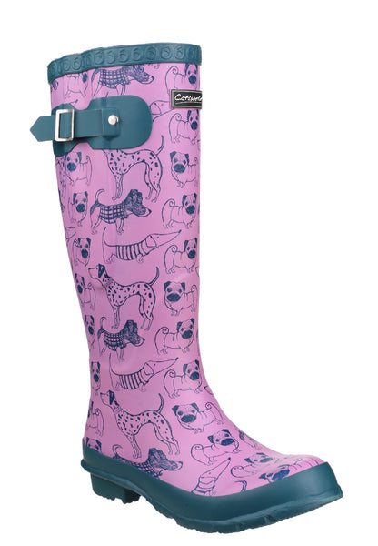 Cotswold Windsor Print Womens Wellington Boot Dog