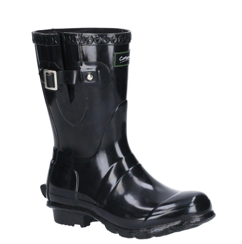 Cotswold Windsor Gloss Short Wellington Boot Black