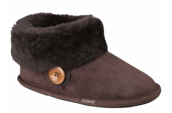 Cotswold Wotton Womens Sheepskin Slipper Bootie Brown