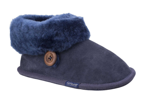 Cotswold Wotton Womens Sheepskin Slipper Bootie Navy