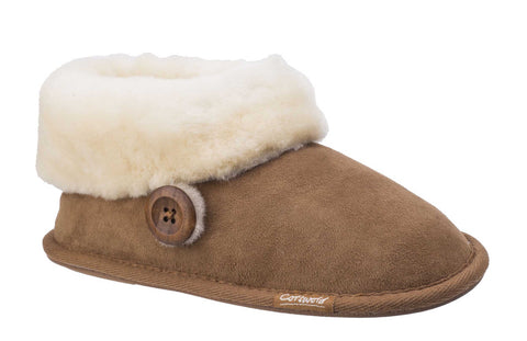 Cotswold Wotton Womens Sheepskin Slipper Bootie Tan