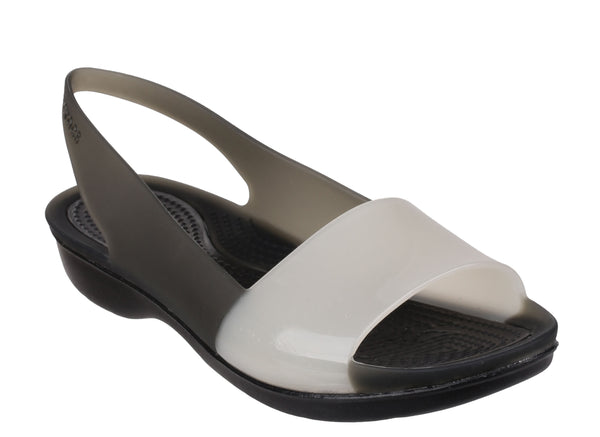 Crocs Colorblock Translucent Flat 200032 Womens Slingback Sandal Black Multi