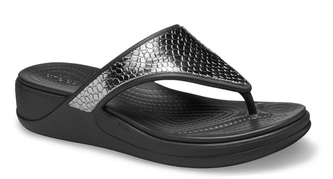 Crocs Monterey Metallic Wedge Flip Charcoal/Black